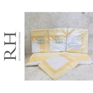 RH Euro Pillow Sham Banded Sateen Yellow White NWT